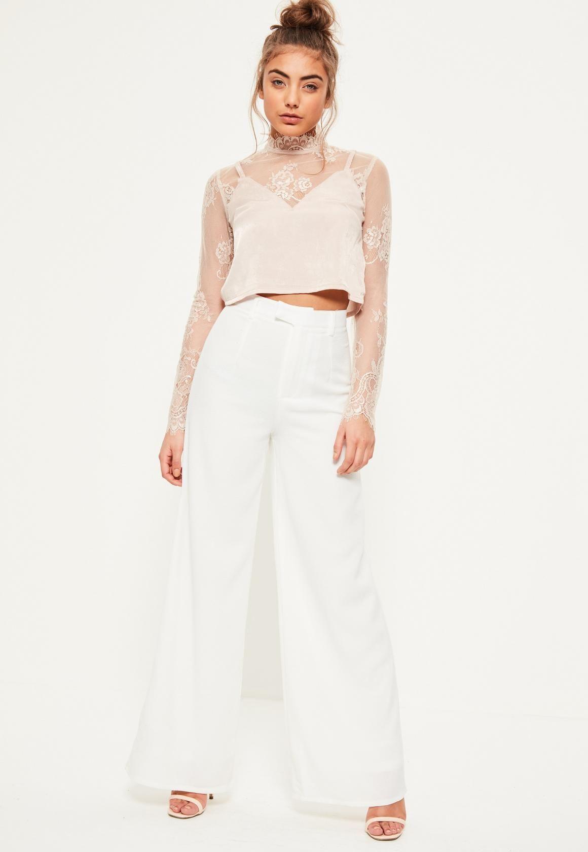 289d2c92feee Missguided - Petite Premium Crepe Wide Leg Pants White | Dress Me ...