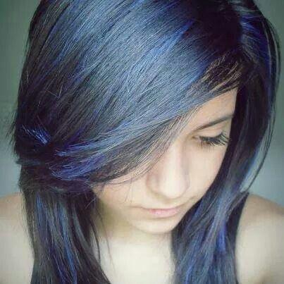 Black With Blue Low Lights Hair Light Hair Black Hair Dye