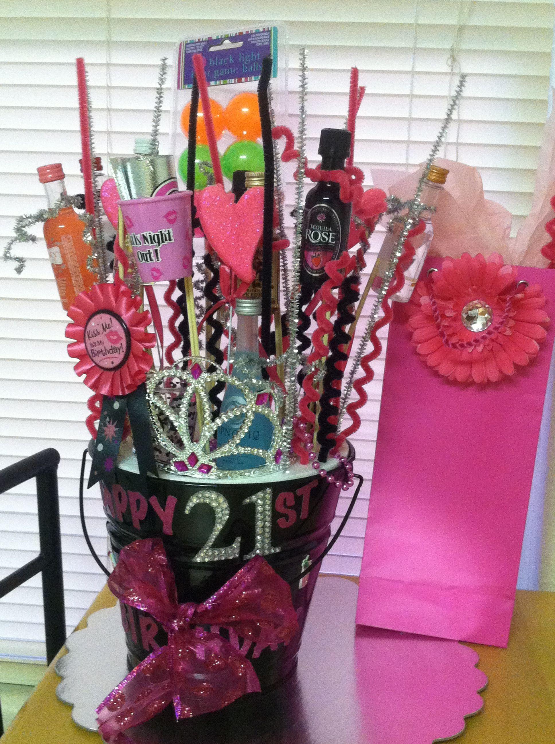 21st birthday gift bucket i did for my best friend