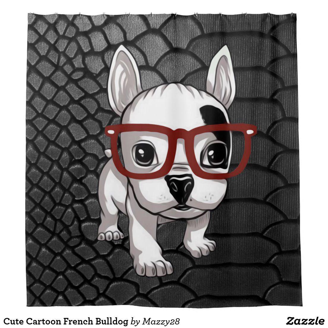 Cute Cartoon French Bulldog Shower Curtain Zazzle Com White