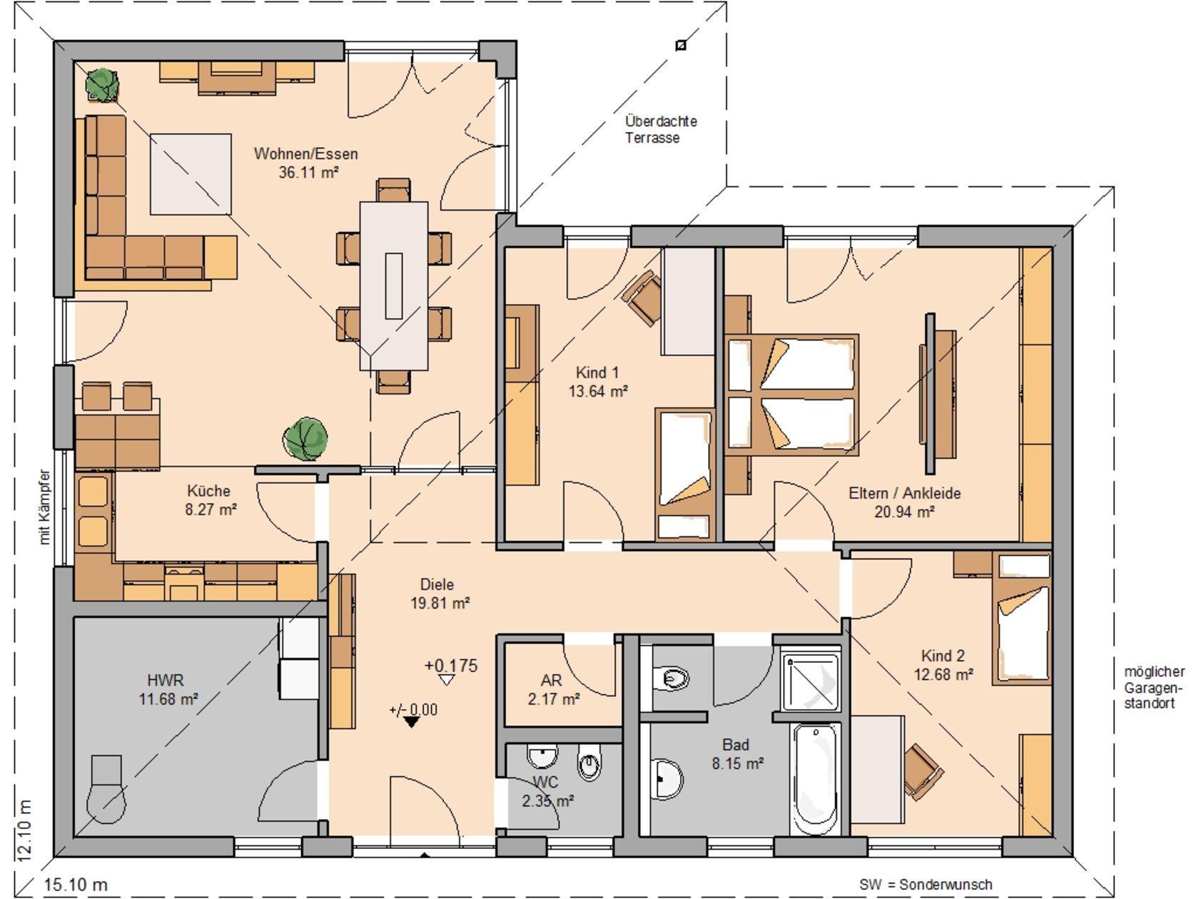 Bildergebnis für grundriss bungalow 4 zimmer 150 qm | Bungalow in ...
