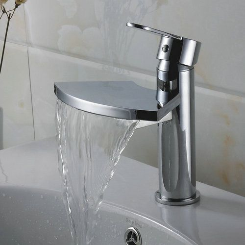 Lat n macizo sola manija cromada cascada grifo del for Manija para ducha