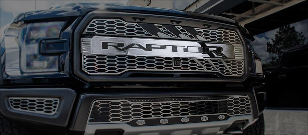 2017 2018 Ford Raptor Center Grille Raptor Logo With Claw Slash Optional Lighting Kit Ford Raptor Accessories Ford Raptor Ford Raptor 2017