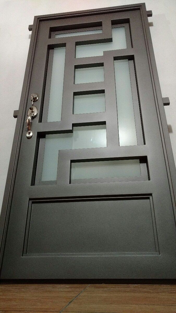 Puerta principal de forja contempor nea super oferta for Puertas de madera en oferta