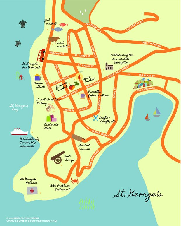 A darling map of St Georges Grenada  Things I Love in 2019  Grenada caribbean Grenada