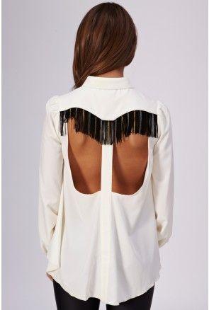 Fringe Back Collar Tip Shirt - Tops - Clothing