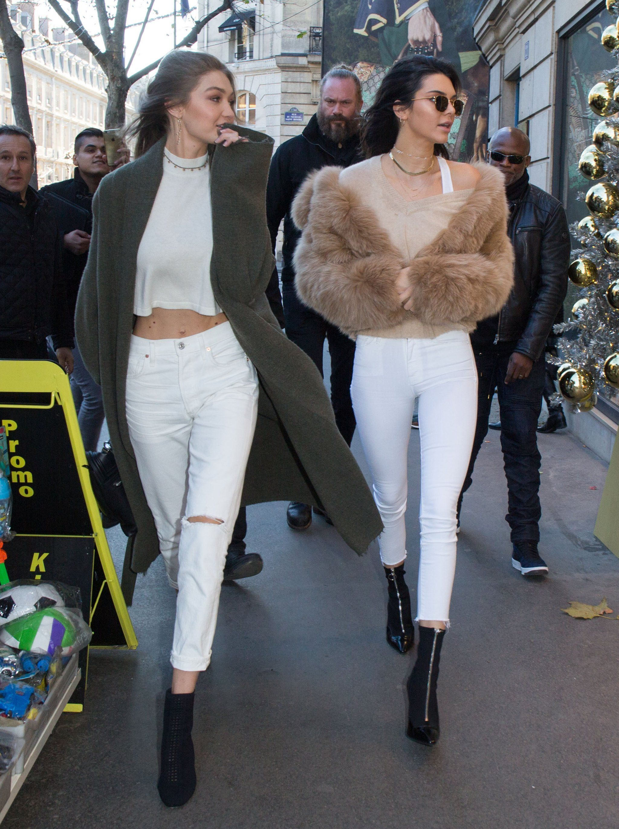"b1d31ae99a3 ""November 2016 - Heading to the Gucci store in Paris"". White Jeans for  Winter! (Kendall Jenner and Gigi Hadid Are Wearing the Jeans You Fear Most)"