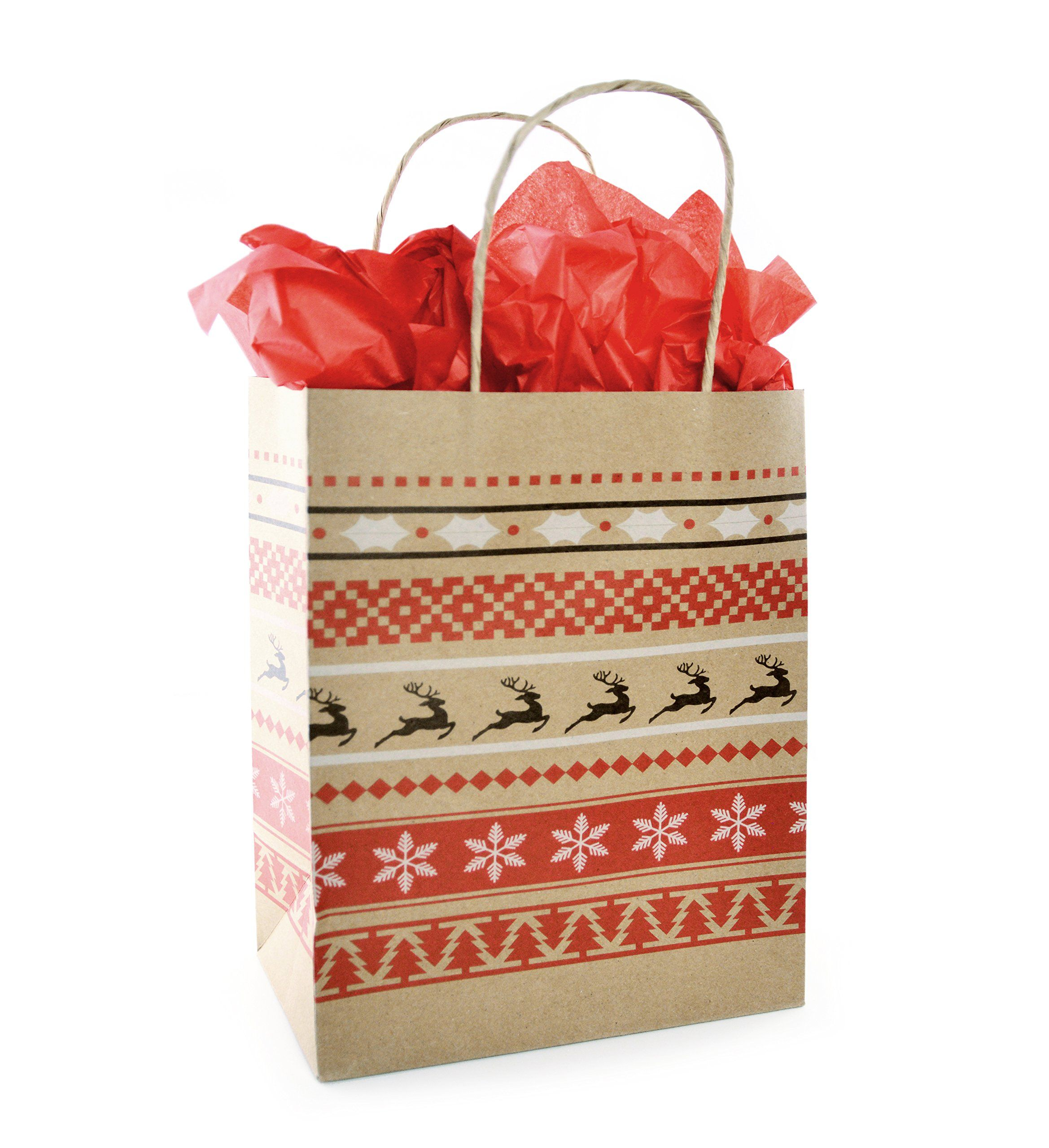 Christmas Gift Bag Set With Tissue Paper Included Red And