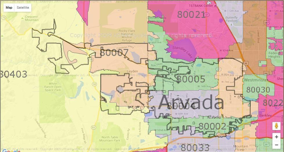 Seattle Zip Code >> Arvada Co Zip Code Map | Zip Code Map