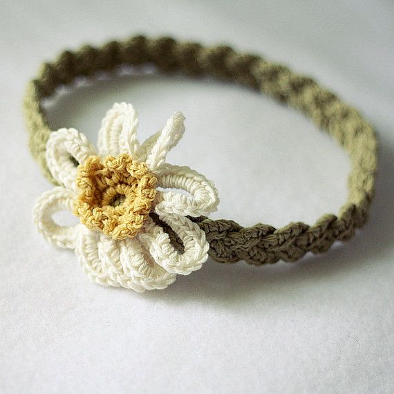 Crochet PATTERN - Daisy Braided Headband (sizes - baby to adult ...