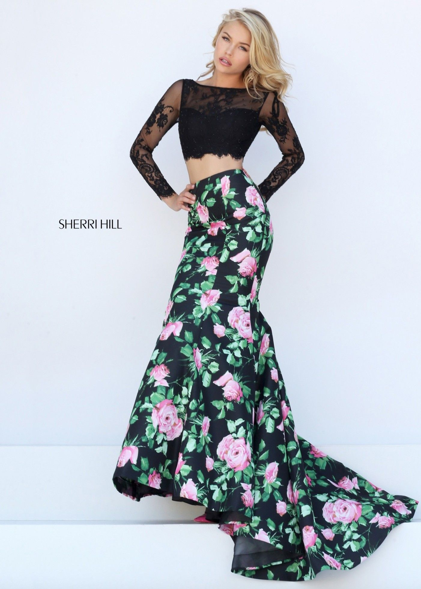 e1c1b1bbb264 ... Neck Court Train Satin Tulle Prom Dress With Appliques Lace. Sherri Hill  50400 Black/Pink Long Sleeve Lace Two Piece Mermaid Gown