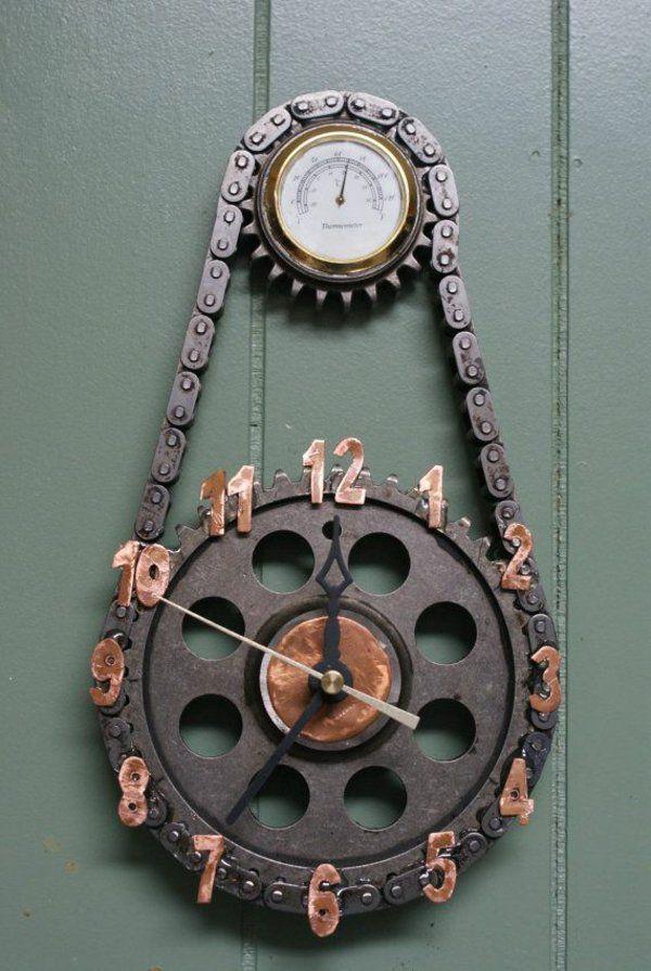Wanduhr Metallkette Industrial Chic Möbel