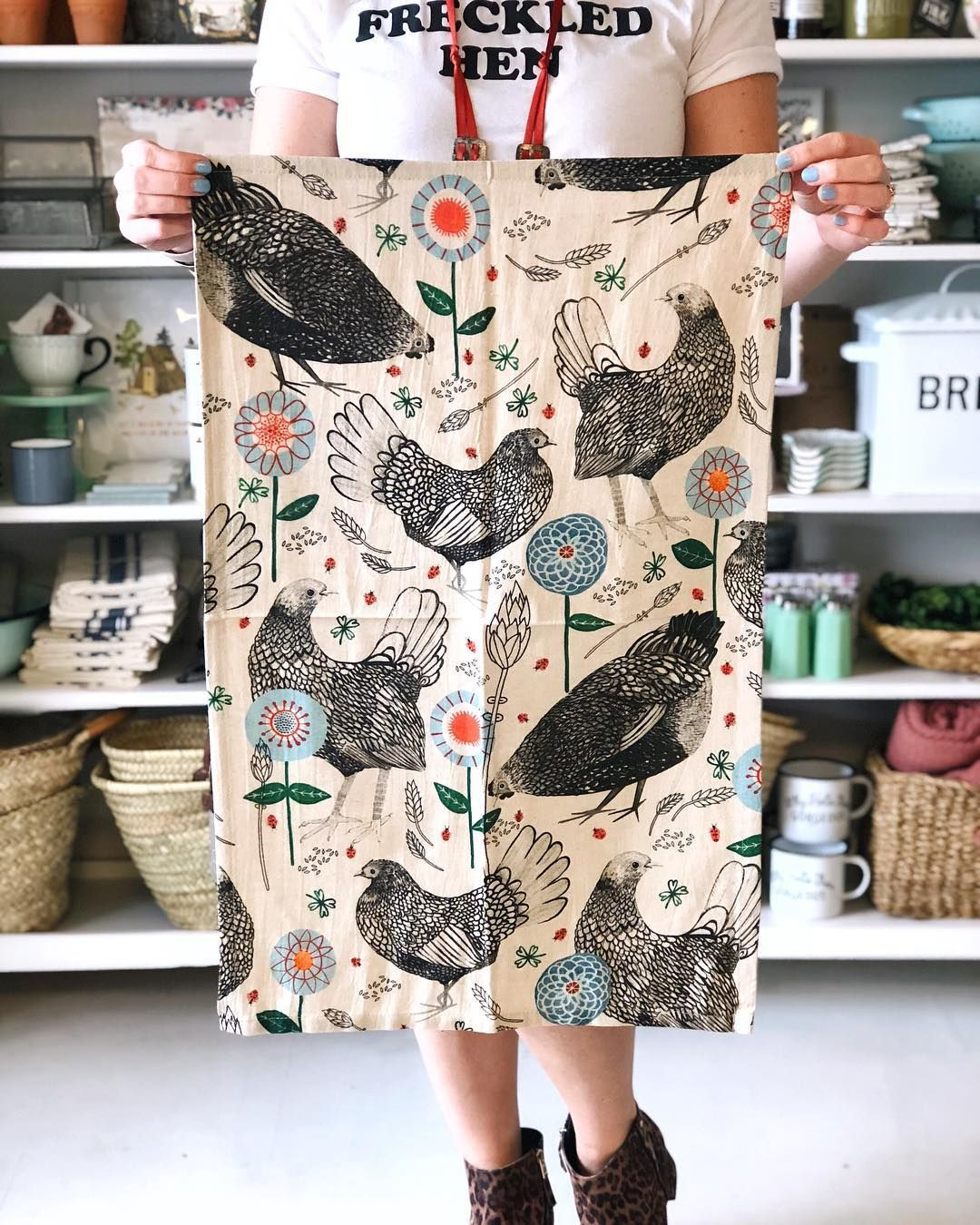 Love this Chicken Tea Towel from The Freckled Hen