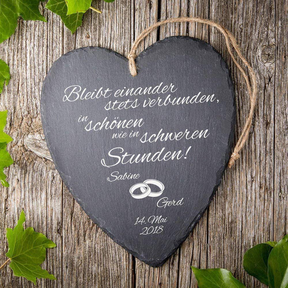 Schieferherz mit Gravur zur Hochzeit - Motiv [Eheringe