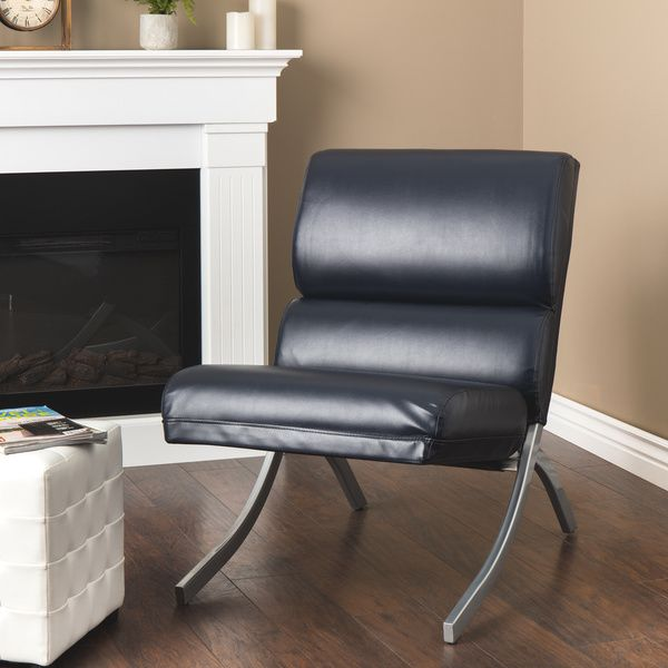 Rialto Navy Bonded Leather Chair   Overstock.com Shopping - The Best Deals on Living Room Chairs