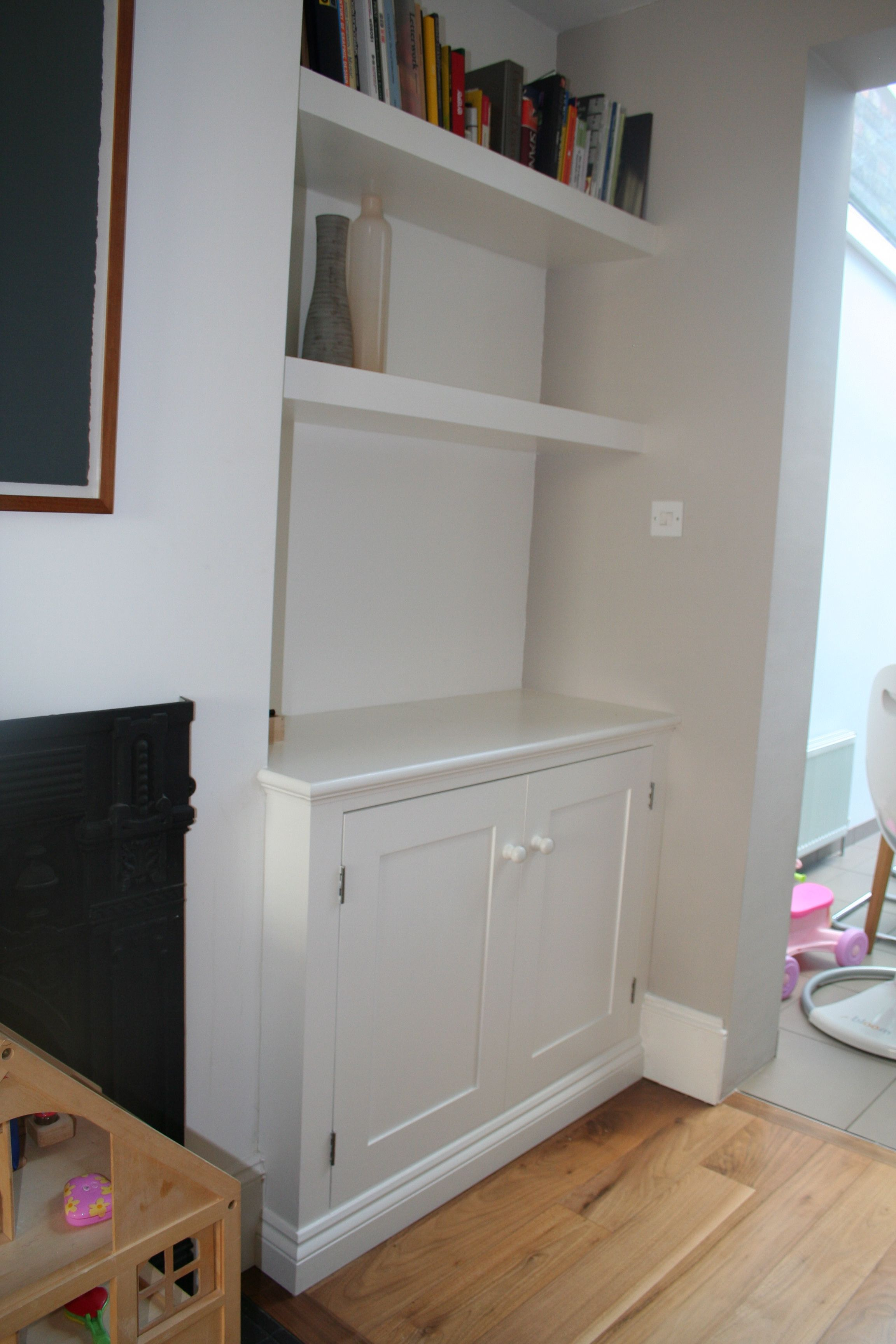 Best Painted Mdf Alcove Cupboard With Shelves Above Alcove 400 x 300