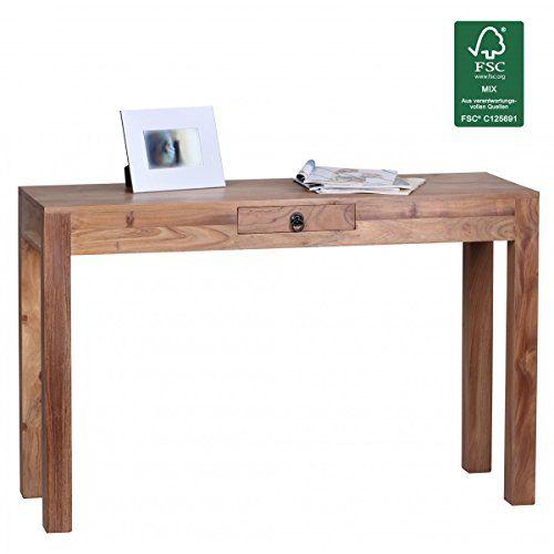 Schreibtisch holz natur  FineBuy Akazie Konsolentisch Massiv 120 cm mit 1 Schublad ...