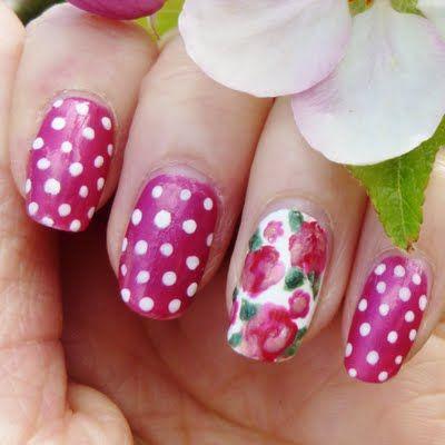 vintage flower nail art  flower nails flower nail art