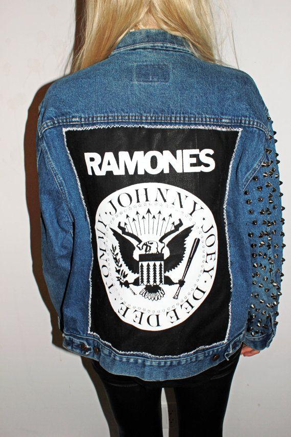 Ramones Studded Sleeve Denim Jacket / Punk Rock Studded ...