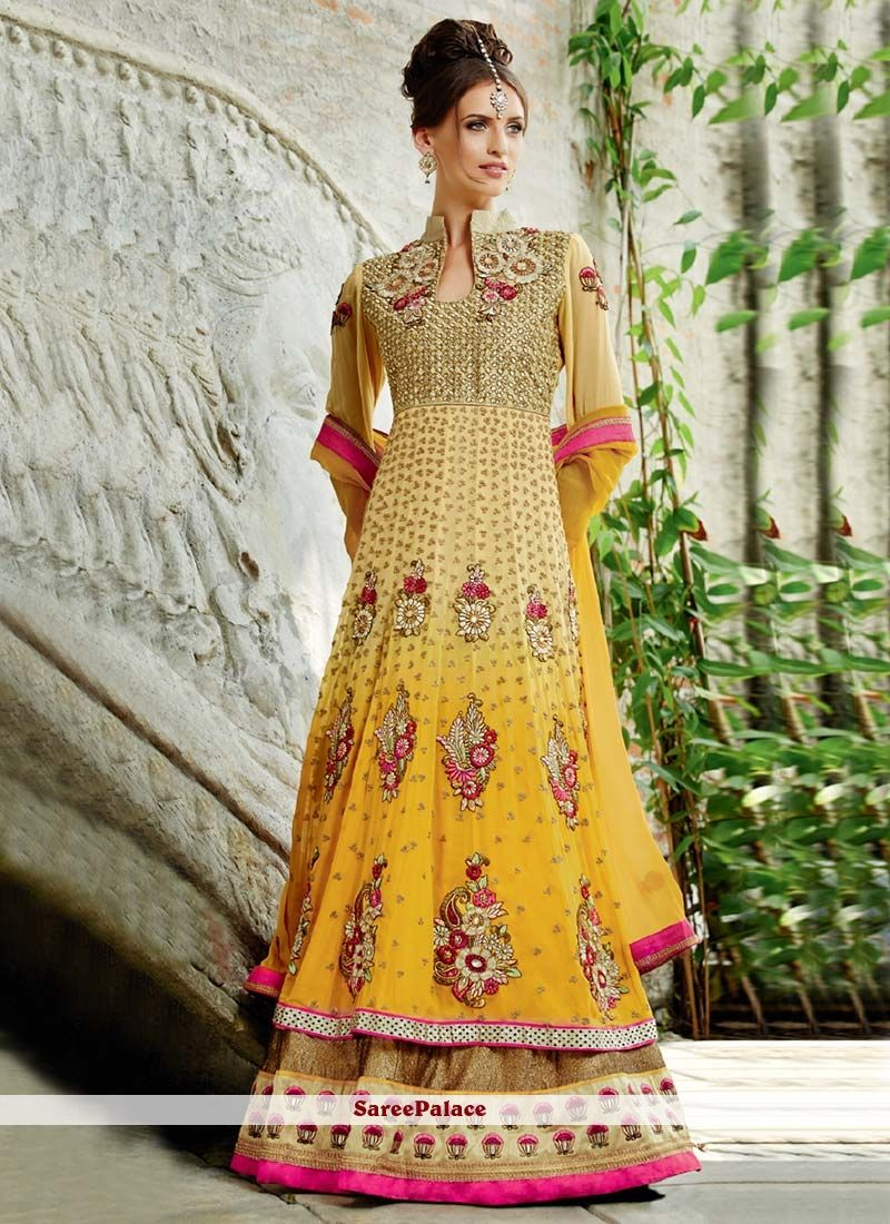 Yellow Shaded Faux Georgette Floor Length Anarkali Suit