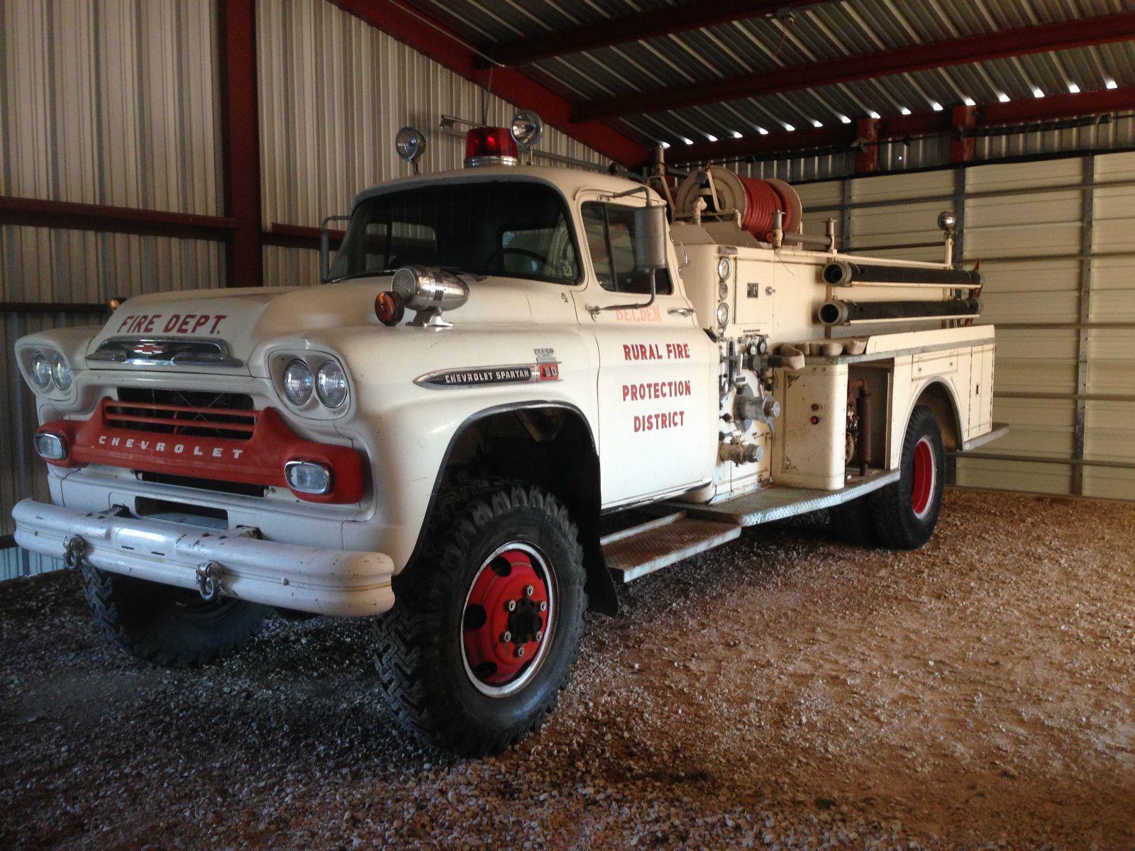 1959 Chevrolet Spartan 80 Factory 348 Big Block Napco 4wd Fire Truck 59 Chevy Ebay Chevrolet Fire Trucks Trucks
