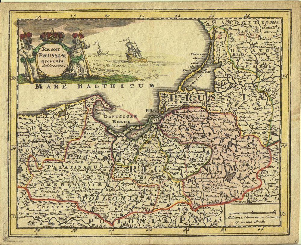 Preussen Königsberg Polen Rußland altkol. Kupferstichkarte Weigel 1718