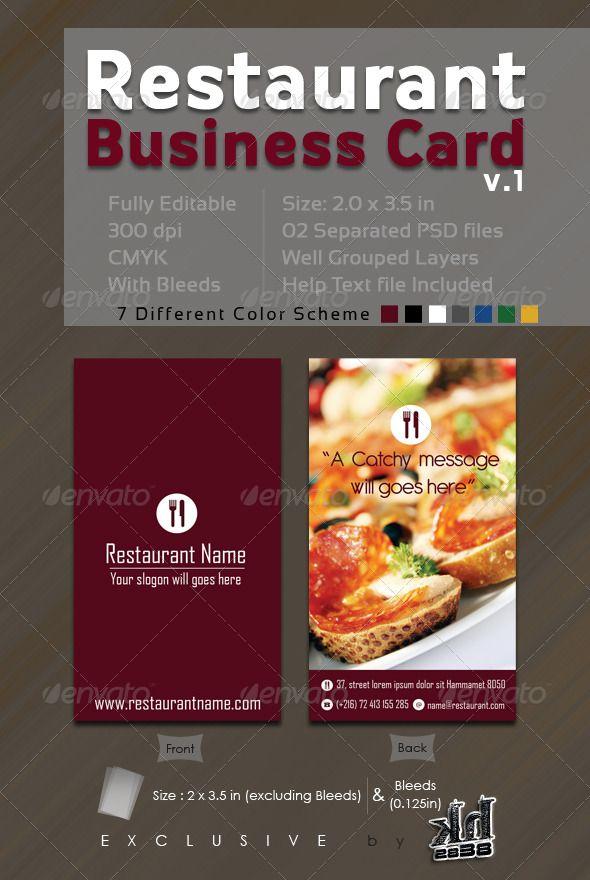 Restaurant Business Card V.1 | Pinterest | Business cards ...