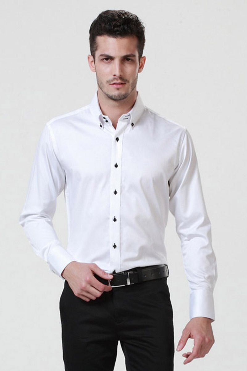 dca51c58a66a50 Image result for mens white shirt black buttons