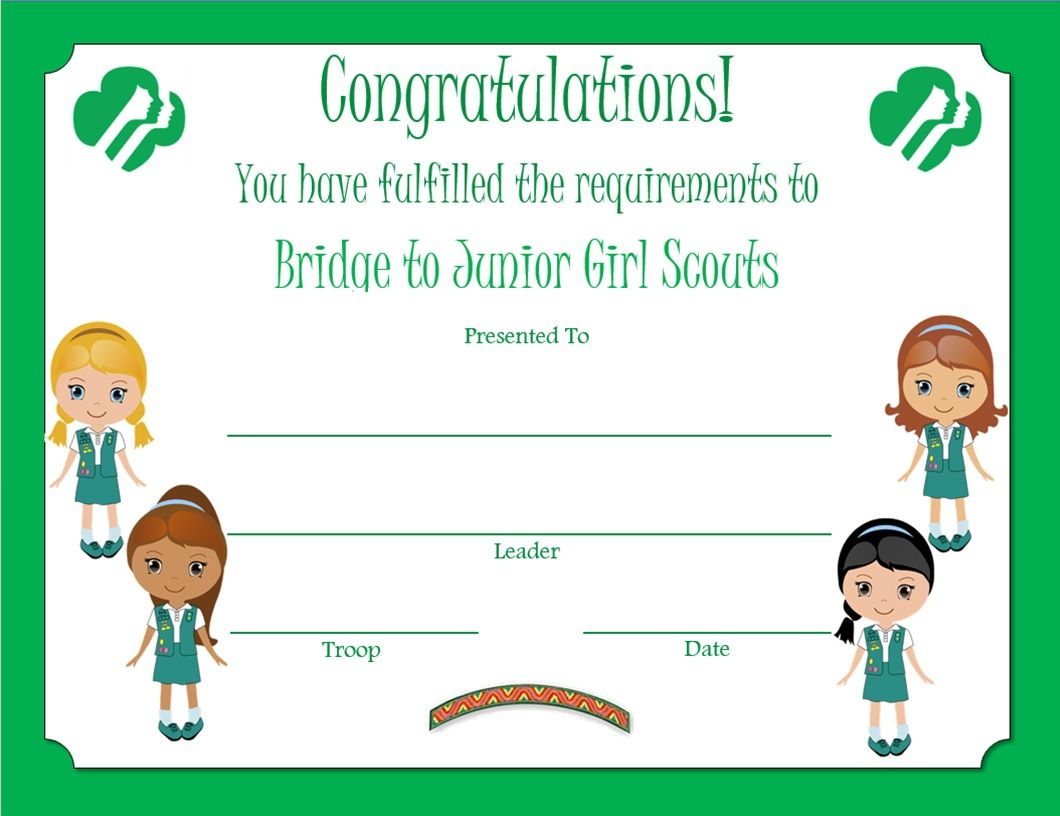 It is a picture of Smart Girl Scouts Certificates