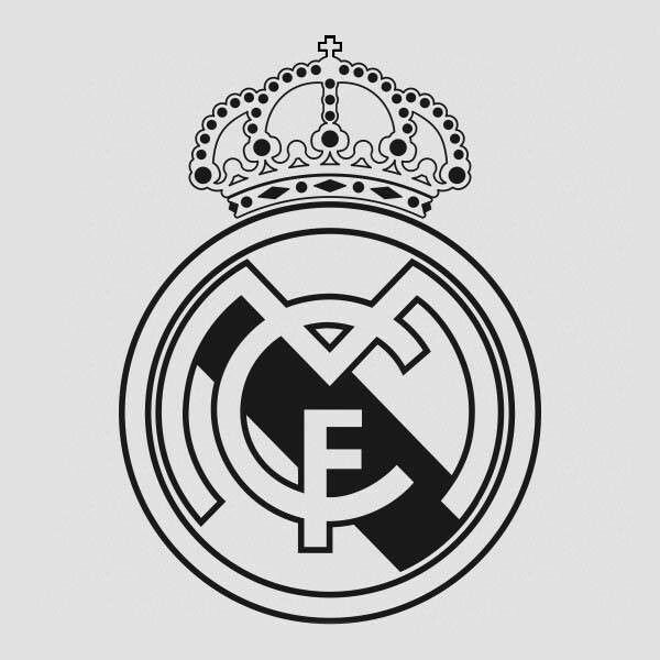 6000073e196 Escudo Blanco Y Negro | Real Madrid | Escudo del real madrid, Real ...