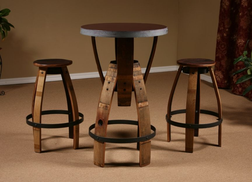 Wine Barrel Stave Furniture, Bar Height Table, Stave Stool, Table, Swivel  Bar