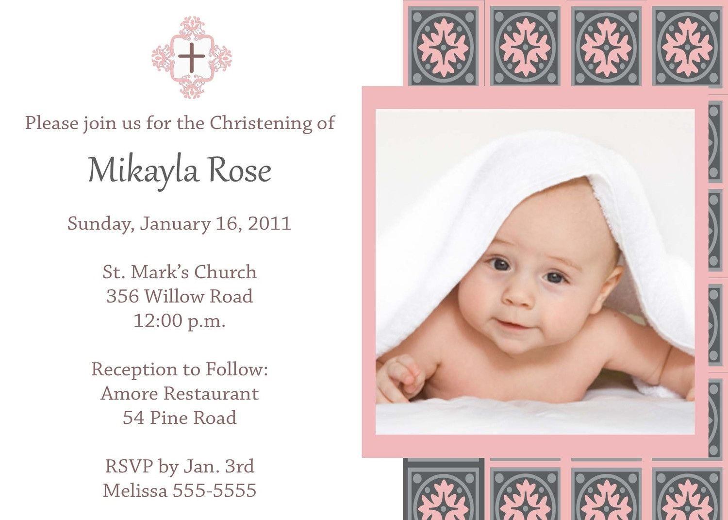 Baby girl baptism invitation free templates costumepartyrun christening invitation for baby girl christening maxwellsz