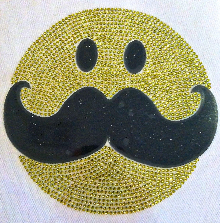Mustache Craze Happy Face Hotfix Iron On Transfer Easy Do
