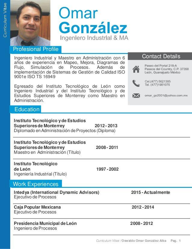 Curriculum Vitae / Oswaldo Omar González Alba Pag. 1 Profesional ...