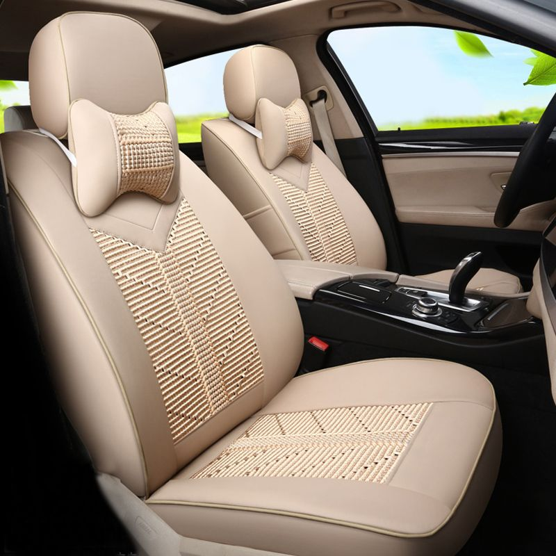 New Styling Summer Cool Seat Covers Custom Fit For Ford Focus 2014 2015 2016 Car Protection PU Leather Ice Silk Seats Affiliate