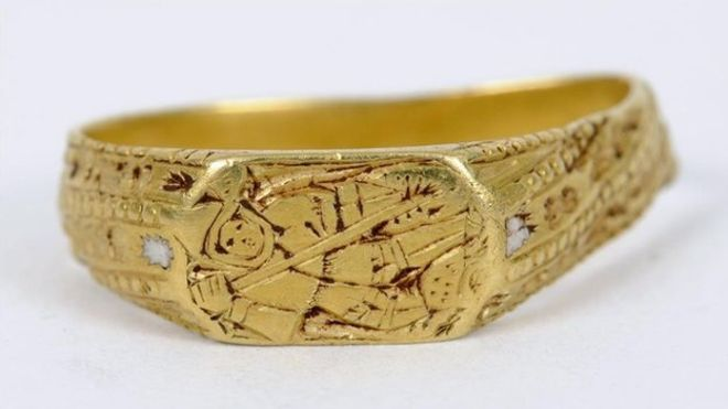 A 600-year-old medieval gold ring depicting St George...The jewellery, which dates from the early 15th to the late 16th Century, was found in a field in North Somerset.