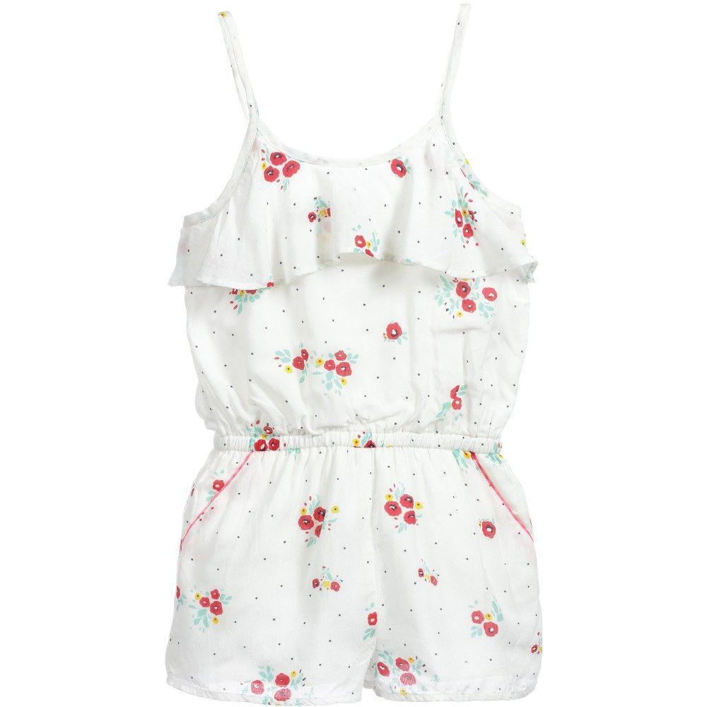 e8020886f Girls White Floral Print Viscose Playsuit, Carrément Beau, Girl ...