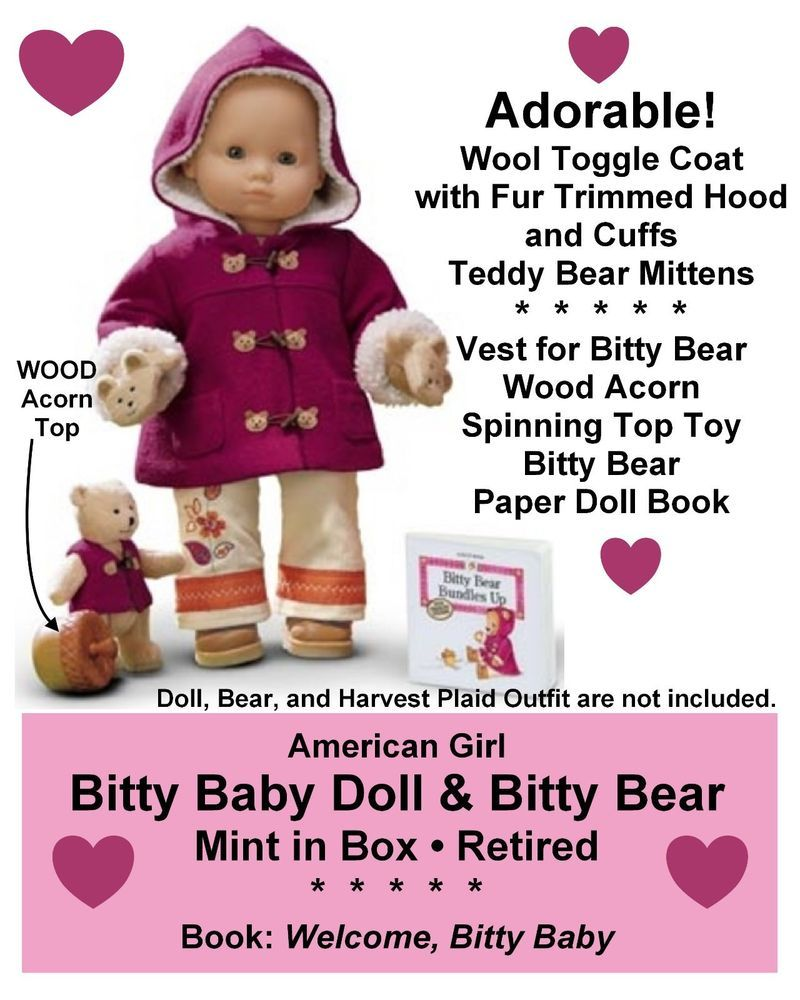 9b5fcfe6f American Girl Bitty Baby TOGGLE COAT SET Bear Outfit + Toy Retired ...