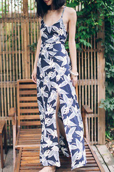 Full Floral Spaghetti Straps Maxi Dress