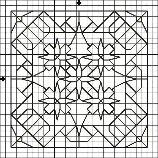 Free Backstitch Motif Patterns - Free Printable Back Stitch Charts: Free Backstitch Motif Pattern Two - Free Printable Back Stitch Chart