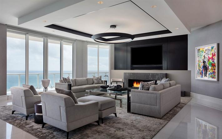 Herunterladen Hintergrundbild Wohnzimmer Moderne Interieur Design, Großer  Tv, Kamin, Gemütliche Inneneinrichtung