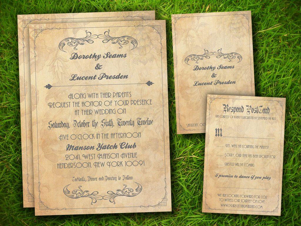 Wedding Invitation and RSVP Card Suite - Vintage Victorian Floral ...