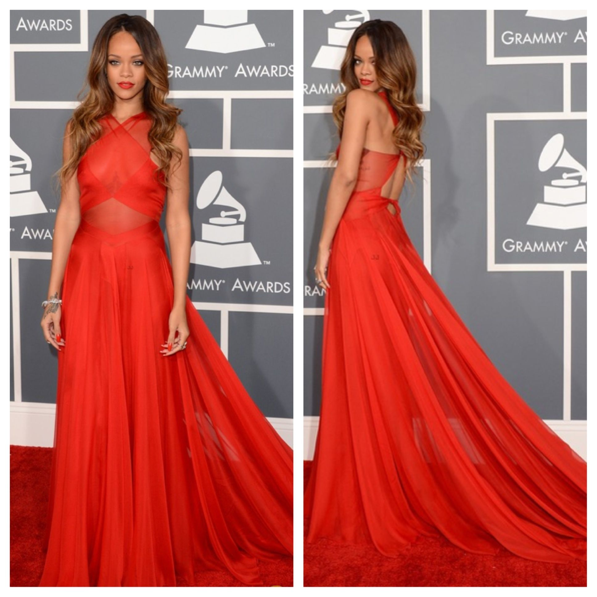 Stunning! | Red prom dress, Rihanna red carpet dresses ...