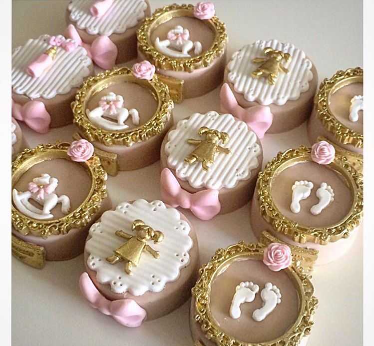 Gold And Pink Baby Shower Fondant Cupcake Toppers Baby Shower