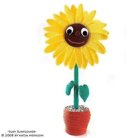 Susy Sunflower, flower tutorial, PDF Pattern, Amigurumi by Katja Heinlein, deco crochet plant gardener digital file ebook