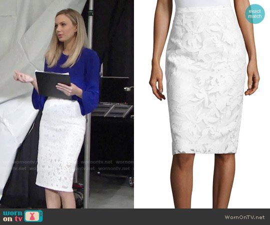 3828ce74ed7 Abby s blue bell-sleeve top and white lace pencil skirt on The Young and the