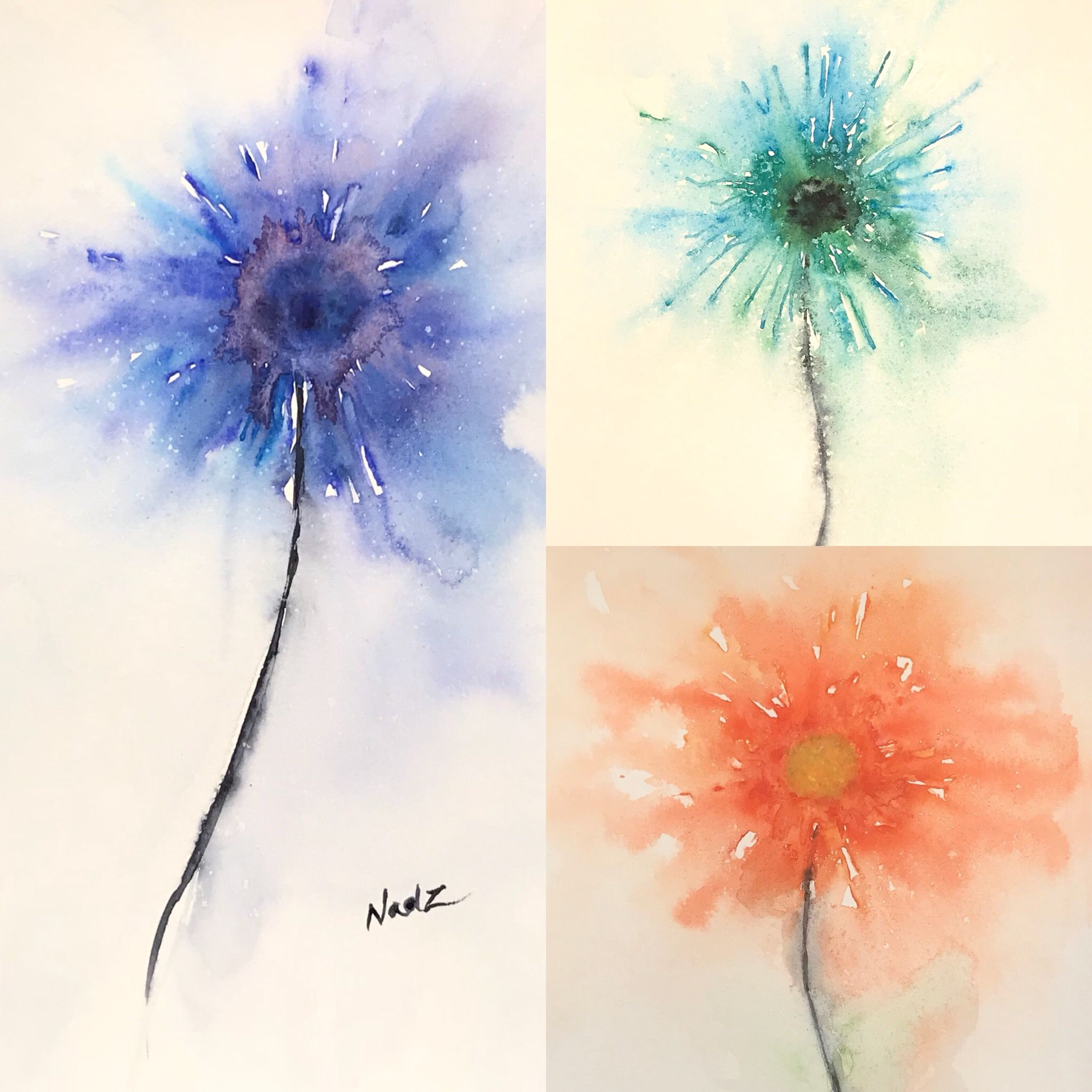 Watercolor Flowers Abstract Painting Abstrait Etsy Aquarelle