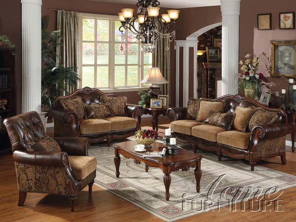 Dreena Espresso Chenille Sofa Set Set By Acme Living Room - Espresso living room furniture