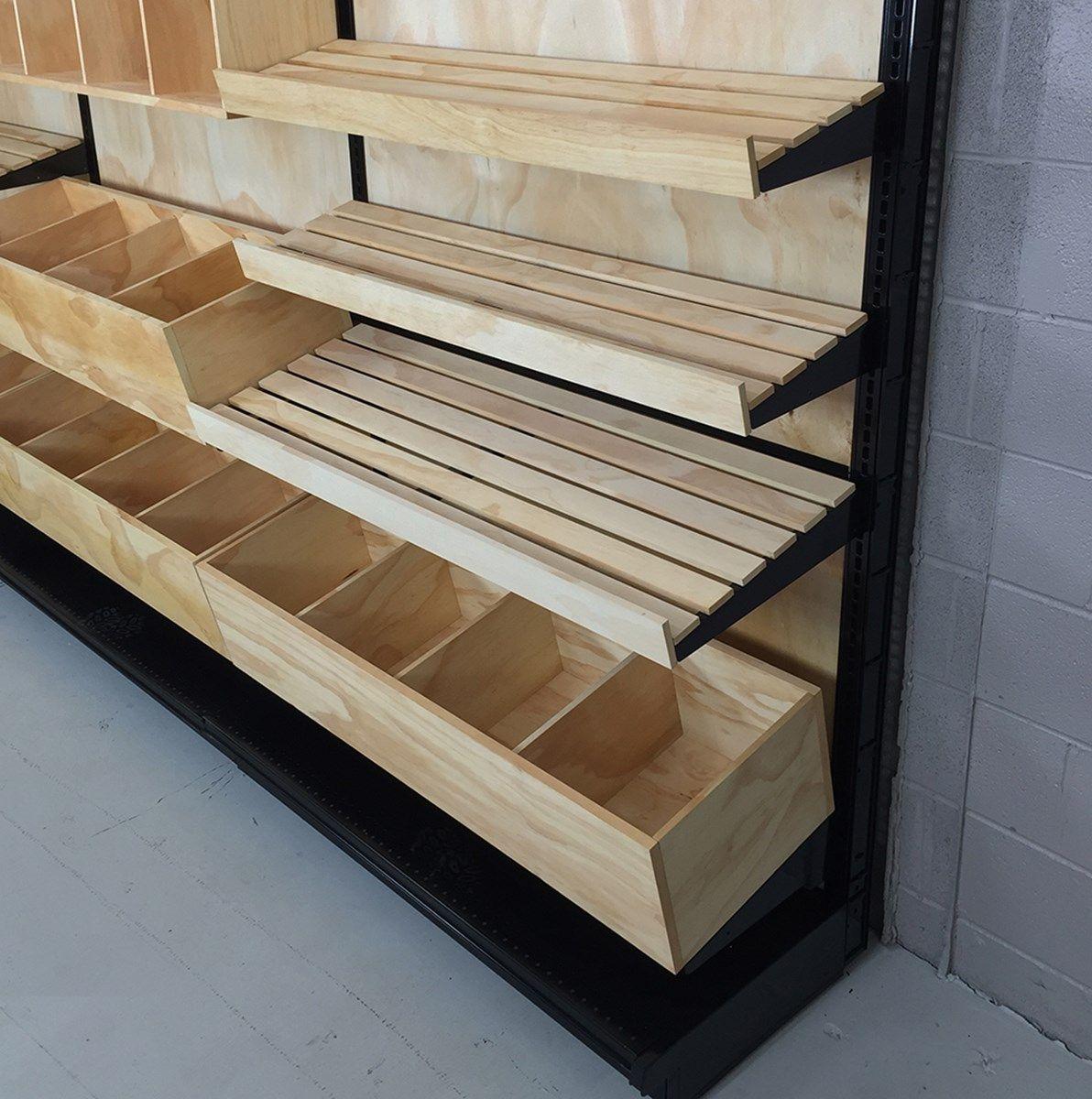 Wood Slat Shelving Bakery Display