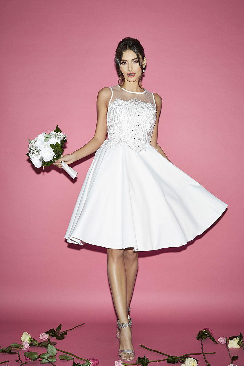 Valentina white satin embroidered short bridal dress gorgeous